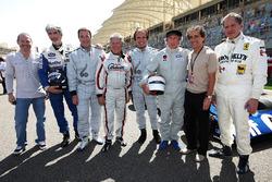 Jacques Villeneuve, Damon Hill, BRDC President; Nigel Mansell, Mario Andretti, Emerson Fittipaldi, Jackie Stewart, Alain Prost, and Jody Scheckter