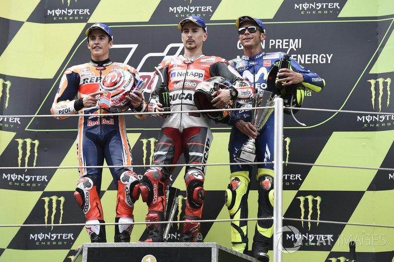 Podio: Marc Marquez, Repsol Honda Team, Jorge Lorenzo, Ducati Team, Valentino Rossi, Yamaha Factory Racing