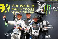 Podium: Winner Johan Kristoffersson, PSRX Volkswagen Sweden, second place Mattias Ekström, EKS Audi Sport, third place Petter Solberg, PSRX Volkswagen Sweden