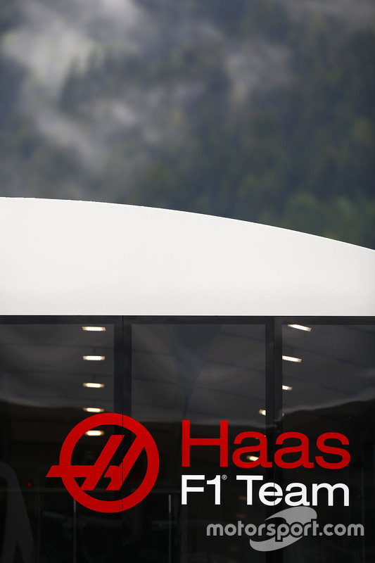 The Haas F1 Team logo on a hospitality unit