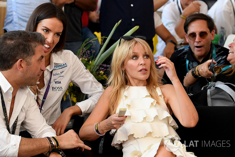 Kylie Minogue watches the race