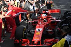 Race winner Sebastian Vettel, Ferrari SF71H arrives in parc ferme and celebrates with Maurizio Arrivabene, Ferrari Team Principal