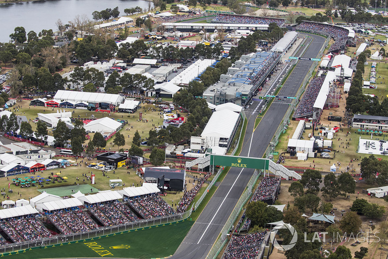 An aerial view of the start straight