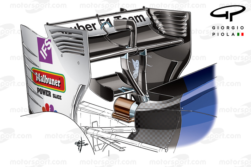 Sauber C35 rear wing support