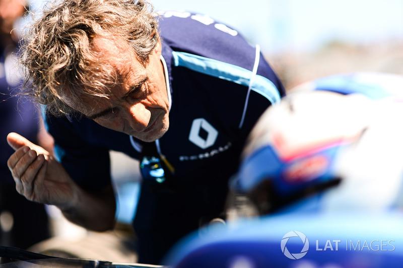 Alain Prost habla con Nicolas Prost, Renault e.Dams