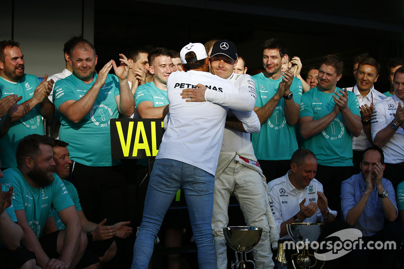 Valtteri Bottas, Mercedes AMG F1, is congratulated on victory by Lewis Hamilton, Mercedes AMG F1