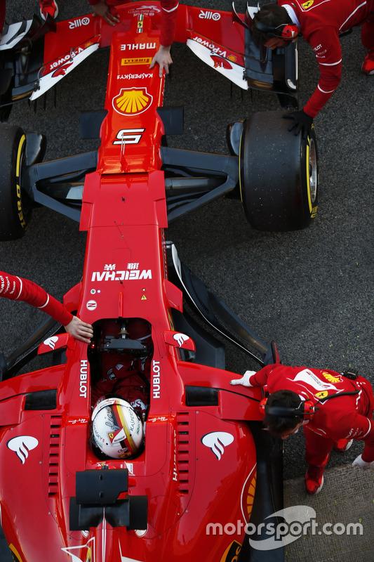 Sebastian Vettel, Ferrari SF70H, returns to the pits