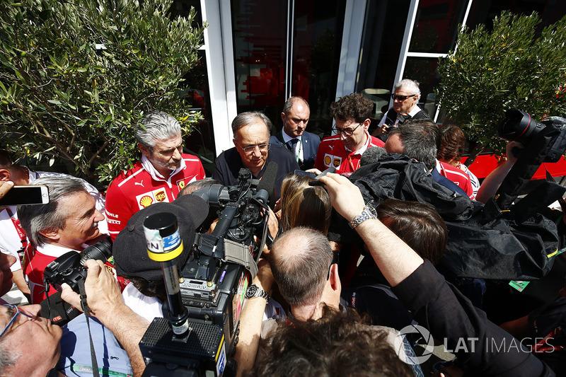 Sergio Marchionne, Chief Executive Officer, Fiat Chrysler and Chairman, Ferrari, Maurizio Arrivabene, Team Principal, Ferrari,