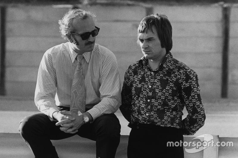 Colin Chapman, Lotus founder with Bernie Ecclestone, Brabham team owner