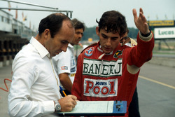 Ayrton Senna, discusses his first run in the Williams FW08C with team owner Frank Williams