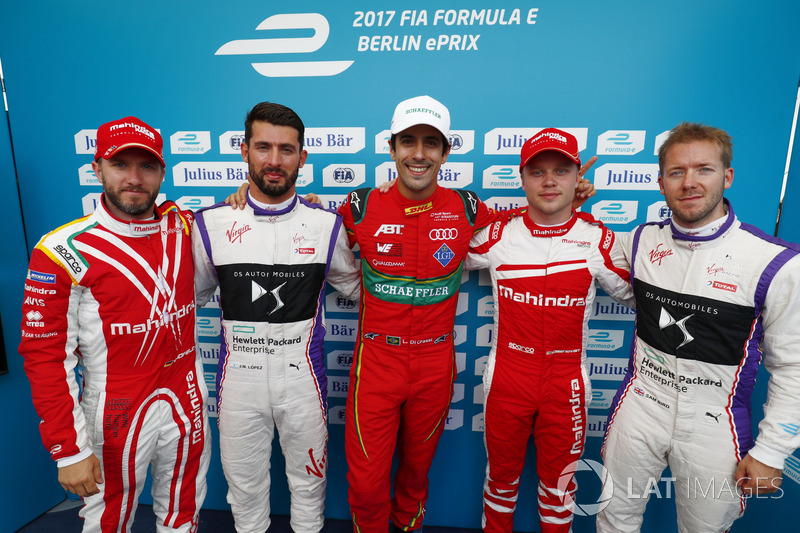 Nick Heidfeld, Mahindra Racing, Jose Maria Lopez, DS Virgin Racing, Lucas di Grassi, ABT Schaeffler Audi Sport, Felix Rosenqvist, Mahindra Racing, Sam Bird, DS Virgin Racing