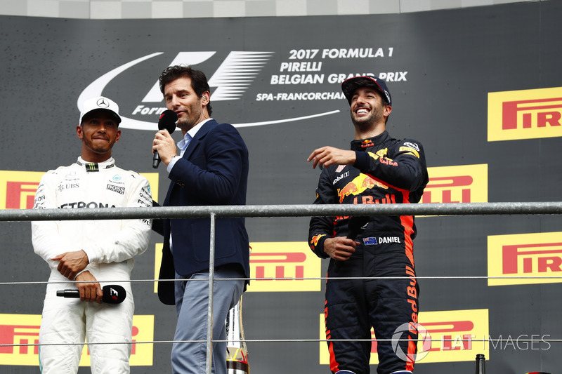 Podium: Race winner Lewis Hamilton, Mercedes AMG F1, talks to Mark Webber, and Daniel Ricciardo, Red Bull Racing