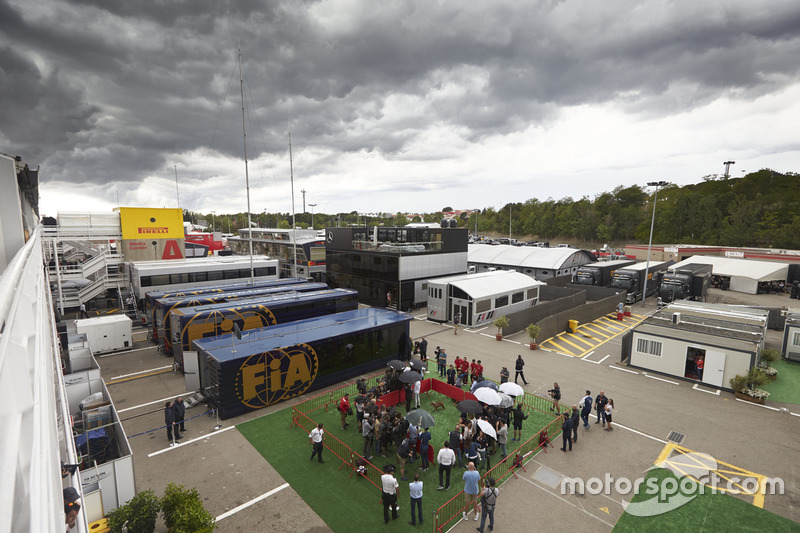 Drivers media pen and FIA motorhome in the paddock