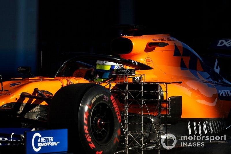 Lando Norris, McLaren MCL34 con sensores aerodinámicos