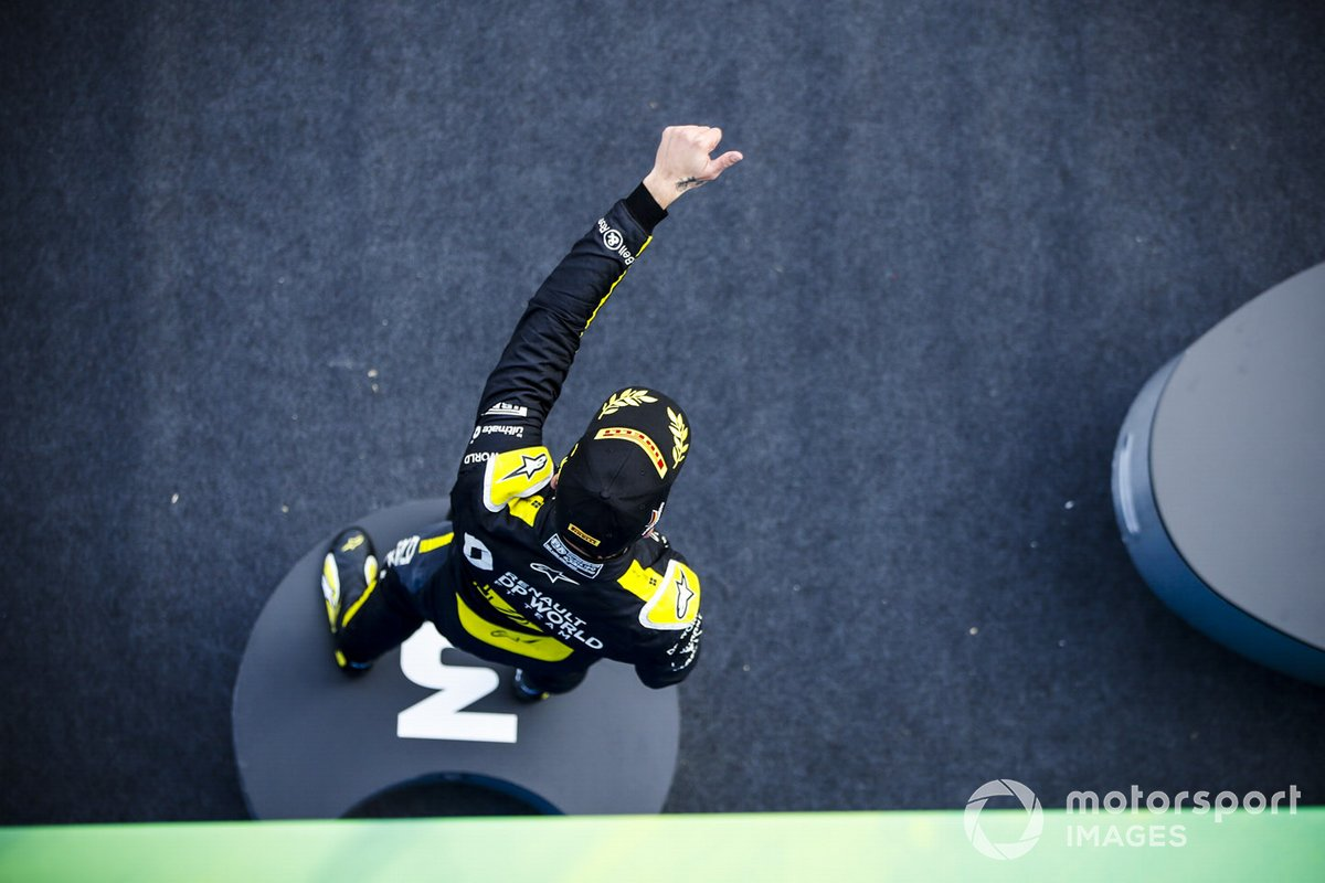 Daniel Ricciardo, Renault F1, 3rd position, celebrates on the podium