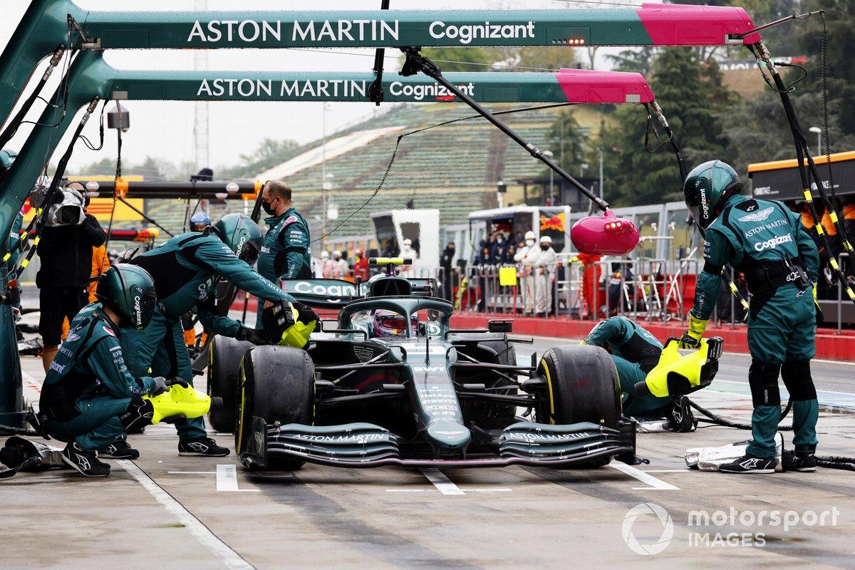 Sebastian Vettel serves a 10-second stop-go penalty