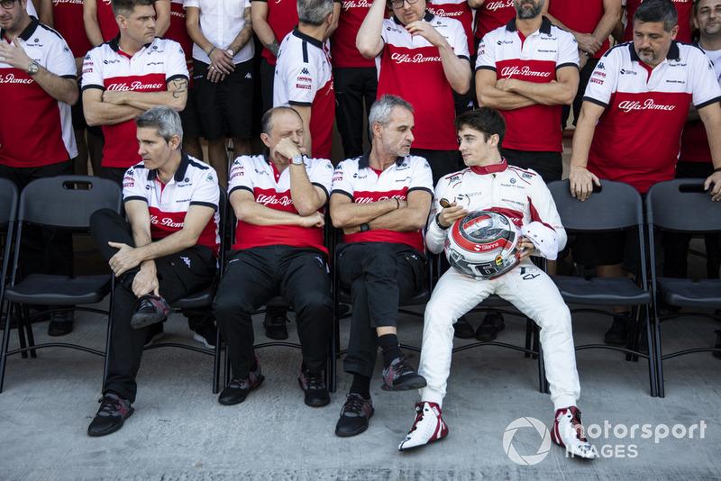 Xevi Pujolar, Sauber Head of Track Engineering, Frederic Vasseur, Sauber, Team Principal, Beat Zehnder, Sauber Manager and Charles Leclerc, Sauber