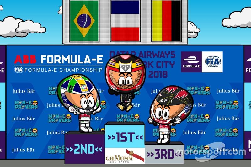 El podio de la Carrera 2 del ePrix de Nueva York 2018, por 'MinEDrivers'