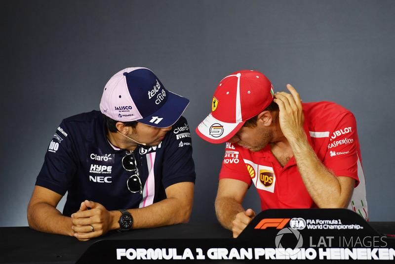 Sergio Perez, Racing Point Force India F1 Team and Sebastian Vettel, Ferrari in the Press Conference