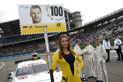 Grid girl of Martin Tomczyk, BMW Team Schnitzer, BMW M4 DTM