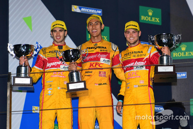 Podium LMP2: #30 Extreme Speed Motorsports Ligier JS P2 Nissan: Antonio Giovinazzi, Sean Gelael, Tom Blomqvist