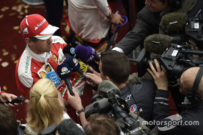 Sebastian Vettel, Ferrari with media