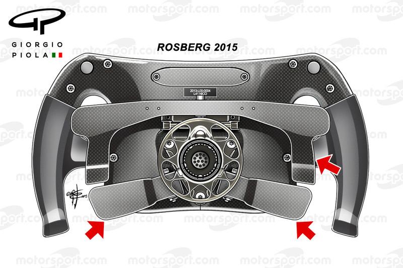 Mercedes-Lenkrad von Nico Rosberg 2015, Rückansicht