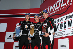 Il podio della seconda gara di Imola della Carrera Cup Italia