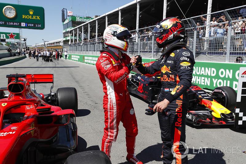Max Verstappen, Red Bull Racing, congratulates pole man Max Verstappen, Red Bull Racing
