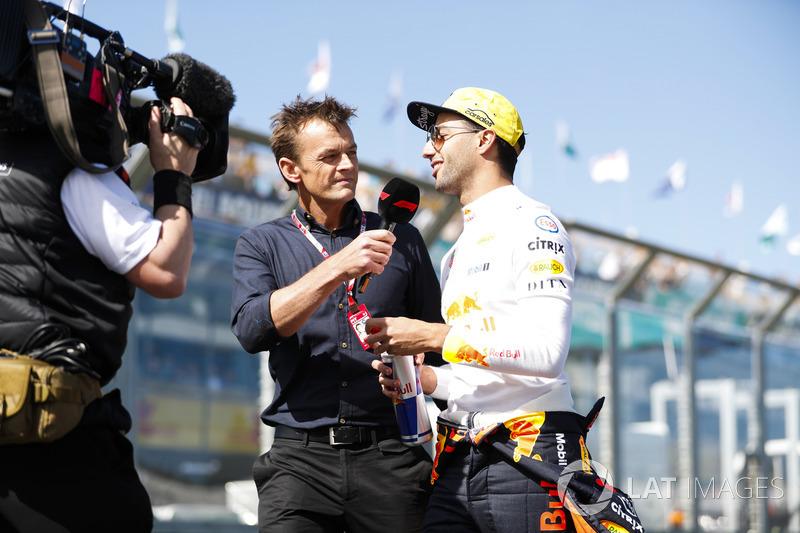 Daniel Ricciardo, Red Bull Racing, is interviewed