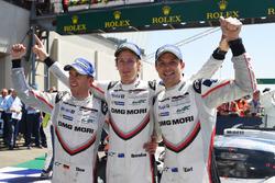 Race winners Timo Bernhard, Earl Bamber, Brendon Hartley, Porsche Team