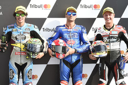 Polesitter Mattia Pasini, Italtrans Racing Team, second place Franco Morbidelli, Marc VDS, third place Dominique Aegerter, Kiefer Racing