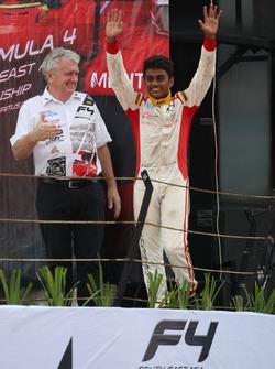 Podium: race winner Akash Gowda