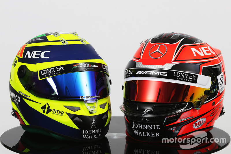 (L to R): The helmets of Sergio Perez, Sahara Force India F1 and Esteban Ocon, Sahara Force India F1 Team