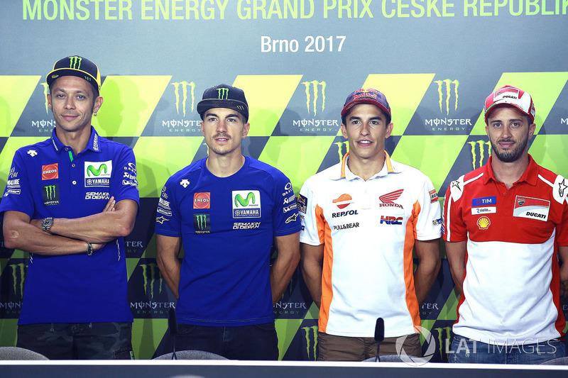 Валентино Россі, Yamaha Factory Racing, Маверік Віньялес, Yamaha Factory Racing, Марк Маркес, Repsol