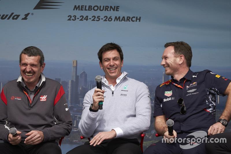 Günther Steiner, Teamchef, Haas F1 Team; Toto Wolff, Sportchef, Mercedes AMG, und Christian Horner, Teamchef, Red Bull Racing