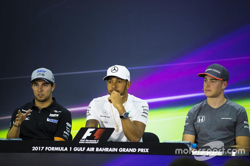 Sergio Perez, Force India, Lewis Hamilton, Mercedes AMG, Stoffel Vandoorne, McLaren, in the press conference