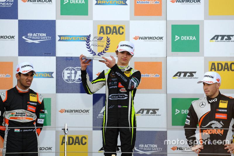 Rookie Podium: first place Lando Norris, Carlin, Dallara F317 - Volkswagen, second place Jehan Daruv