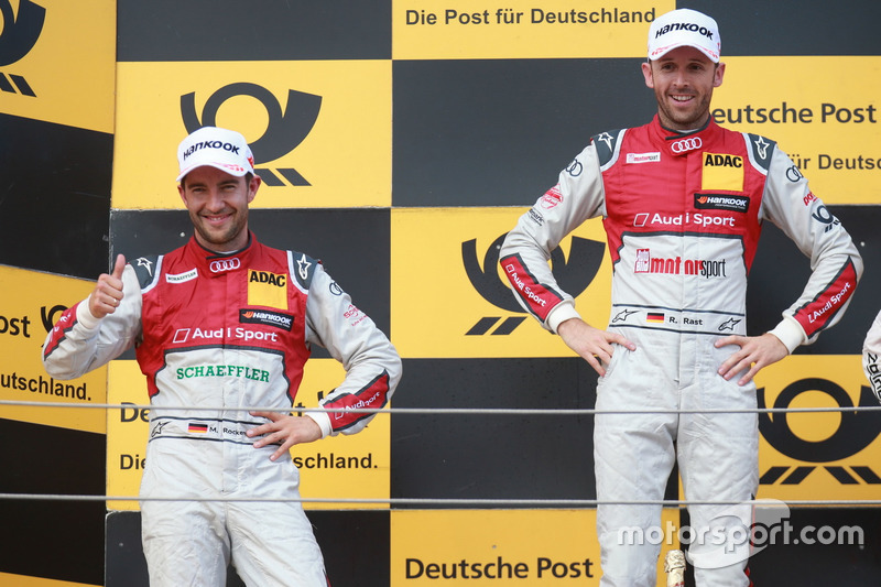Подіум: переможець Рене Раст, Audi Sport Team Rosberg, Audi RS 5 DTM, другий Майк Роккенфеллер, Audi