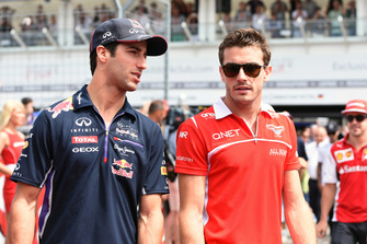 Daniel Ricciardo, Red Bull Racing and Jules Bianchi, Marussia F1 Team on the drivers parade