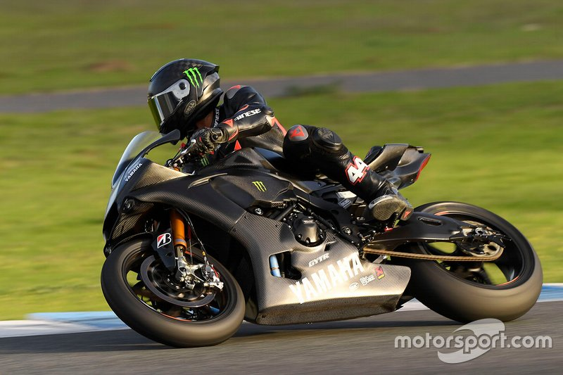 Lewis Hamilton tests the Yamaha Superbike
