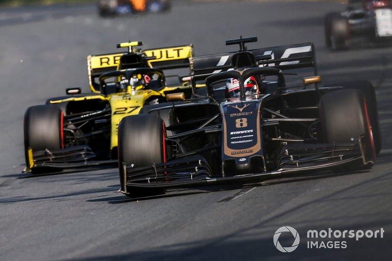 Romain Grosjean, Haas F1 Team VF-19, Nico Hulkenberg, Renault R.S. 19