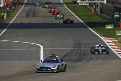 The AMG Mercedes safety-car leads Valtteri Bottas, Mercedes AMG F1 W09, Sebastian Vettel, Ferrari SF71H, Lewis Hamilton, Mercedes AMG F1 W09, and Max Verstappen, Red Bull Racing RB14 Tag Heuer