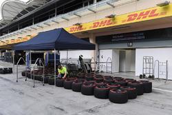 Mécanicien Williams et pneus Pirelli