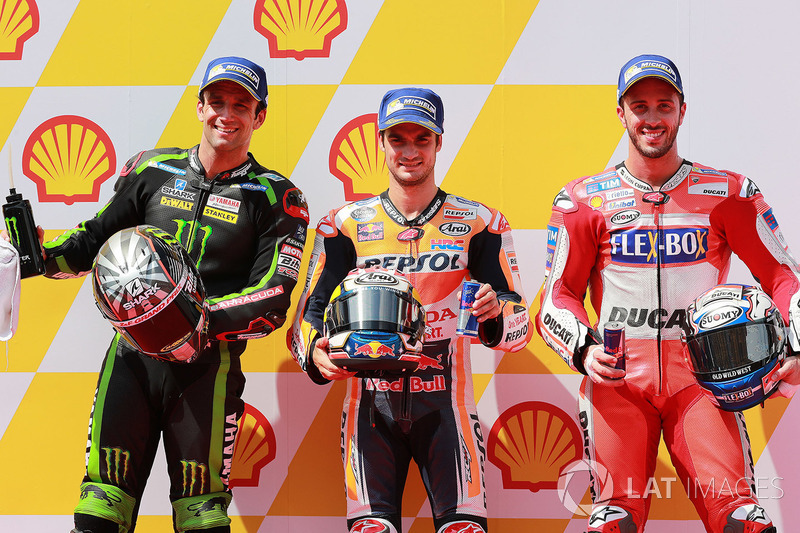 Pole sitter Dani Pedrosa, Repsol Honda Team, second place Johann Zarco, Monster Yamaha Tech 3, third place Andrea Dovizioso, Ducati Team
