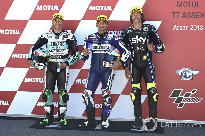 Top 3 after qualifying: Enea Bastianini, Leopard Racing, Jorge Martin, Del Conca Gresini Racing Moto3, Nicolo Bulega, Sky Racing Team VR46