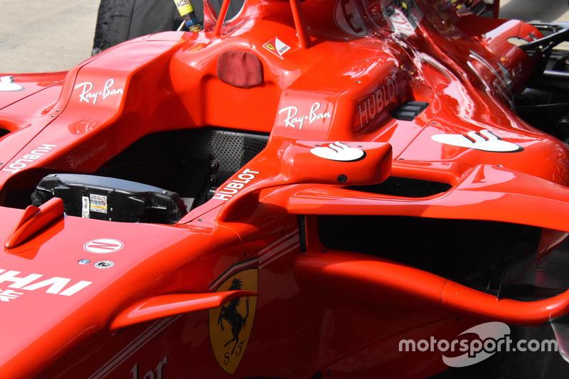 Mirror at the Ferrari SF70H of Kimi Raikkonen