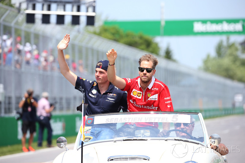 Max Verstappen, Red Bull, Sebastian Vettel, Ferrari, in the drivers parade