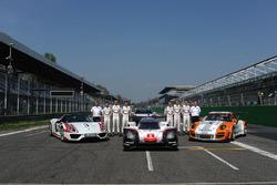 Andreas Seidl, Team Principal Porsche Team, Fritz Enzinger, Vice President LMP1 Porsche Team, Timo Bernhard, Earl Bamber, Brendon Hartley, Neel Jani, Andre Lotterer, Nick Tandy, during the Porsche Team launch