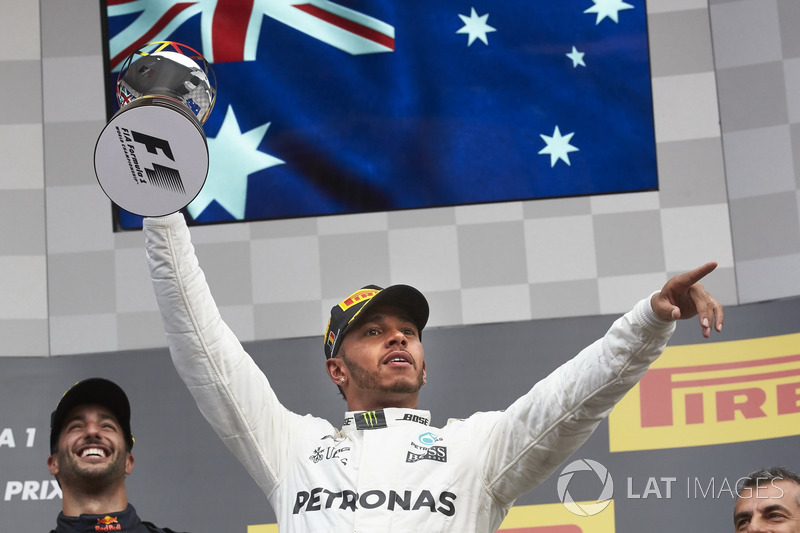 Race winner Lewis Hamilton, Mercedes AMG F1, with his trophy
